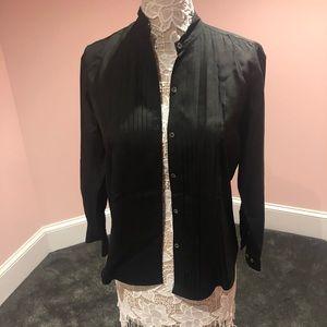 Vintage black tuxedo women's blouse